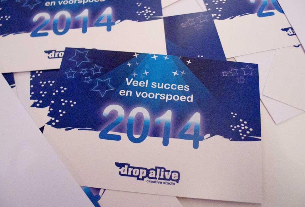 Drop Alive Creative Studio nieuwjaarskaart 2014
