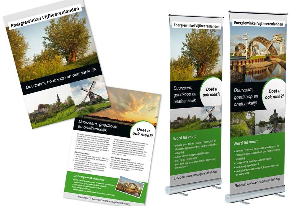 A5-Flyer en rollup-banner Energiewinkel Vijfheerenlanden