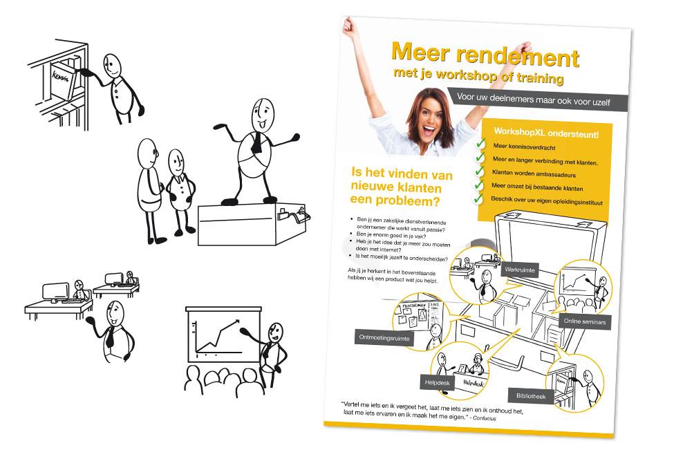 A4-flyer 'Meer rendement' voor Grover Advies