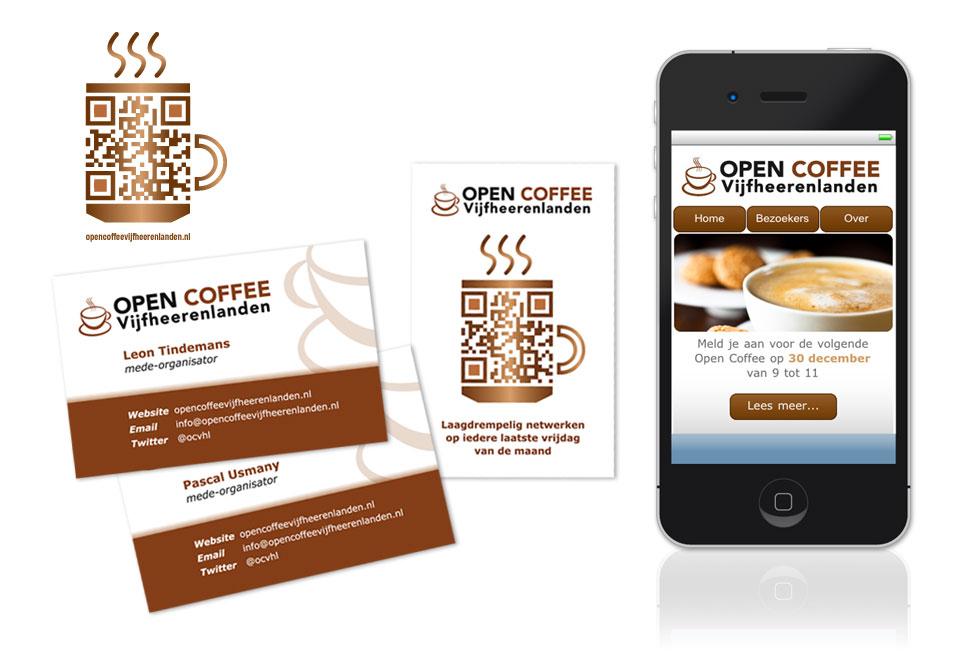 Grafisch ontwerp mobiele website, QR-code en visitekaartjes Open Coffee Vijfheerenlanden