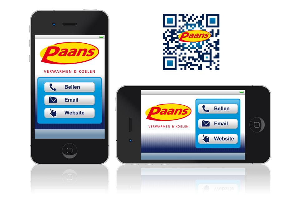Mobiele contactpagina en QR-code Paans