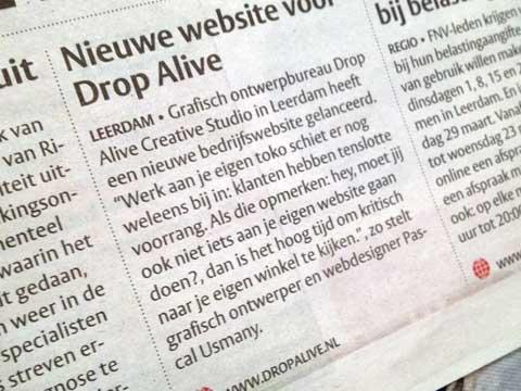 Persbericht Drop Alive Creative Studio - Het Kontakt Leerdam
