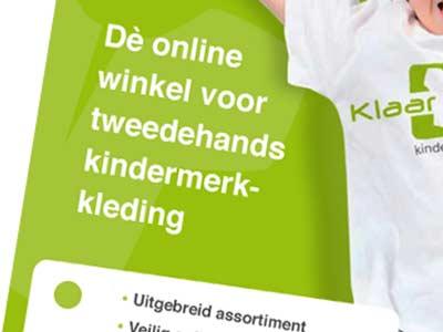 Grafisch ontwerpvoorstel flyer 'Kinderkleding'