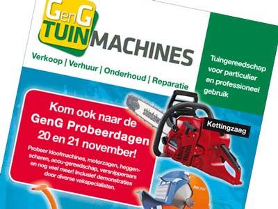 Advertentie GenG Tuinmachines voor in de krant