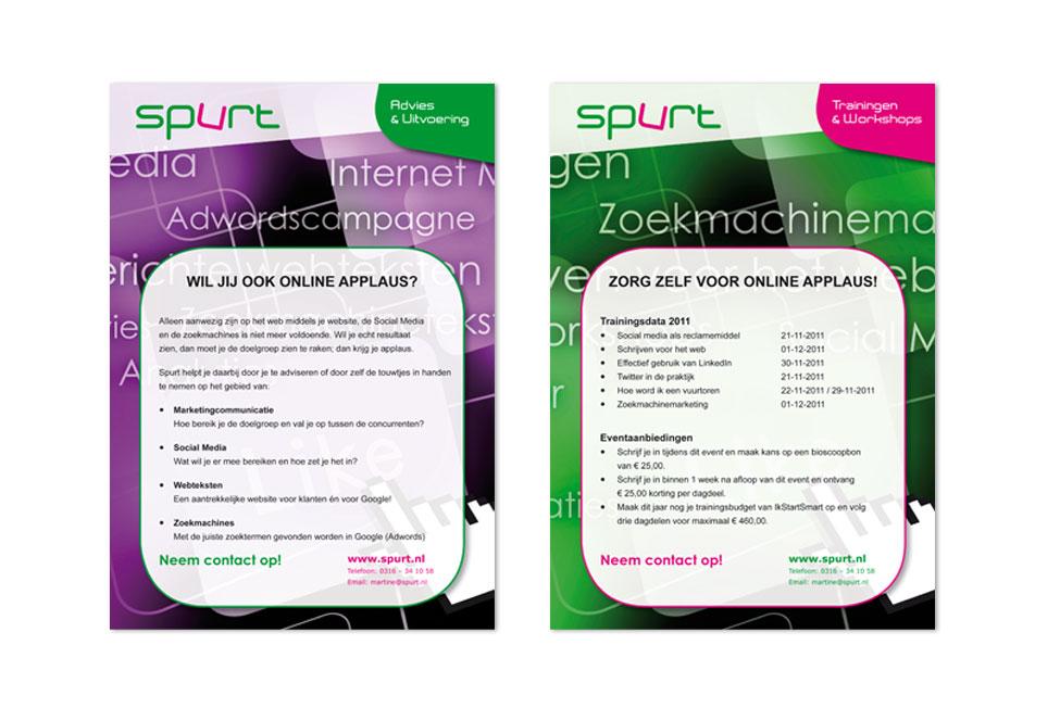 Inprintbare flyers 'Online applaus' voor Spurt