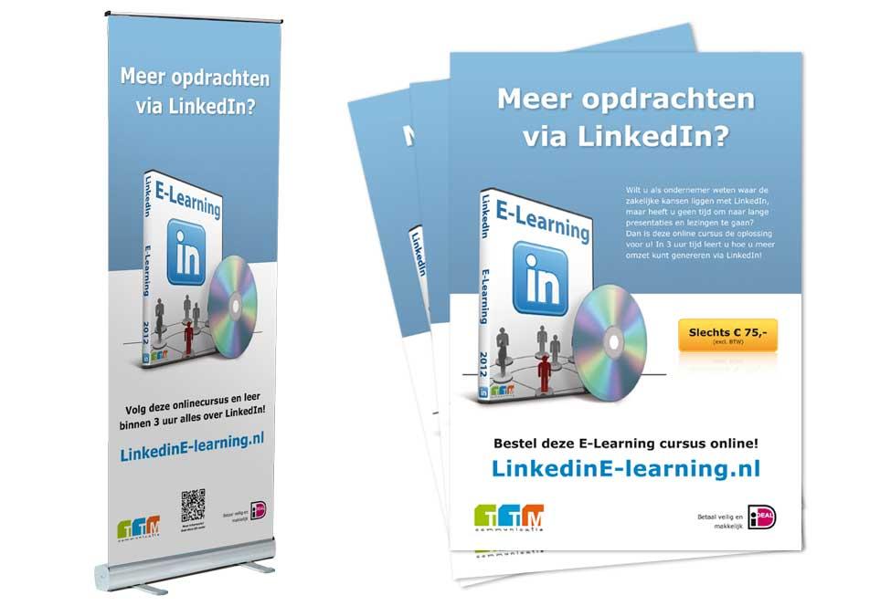 Fenexpo rollup-banner en flyers 'E-learning' TTM Communicatie