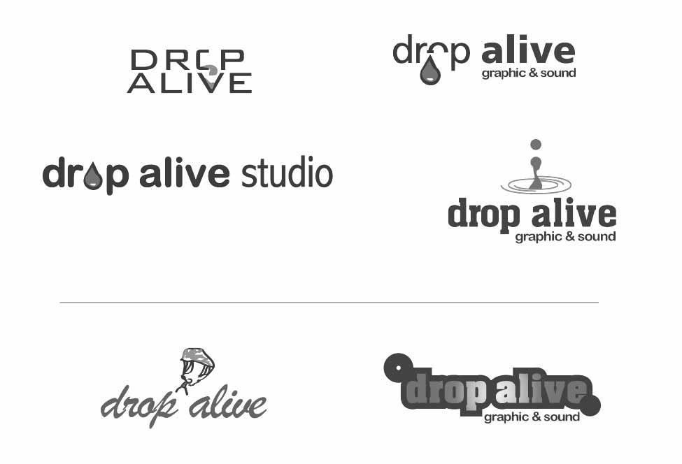 Enkele grove ideetjes uit een vroeg stadium voor het logoontwerp van Drop Alive