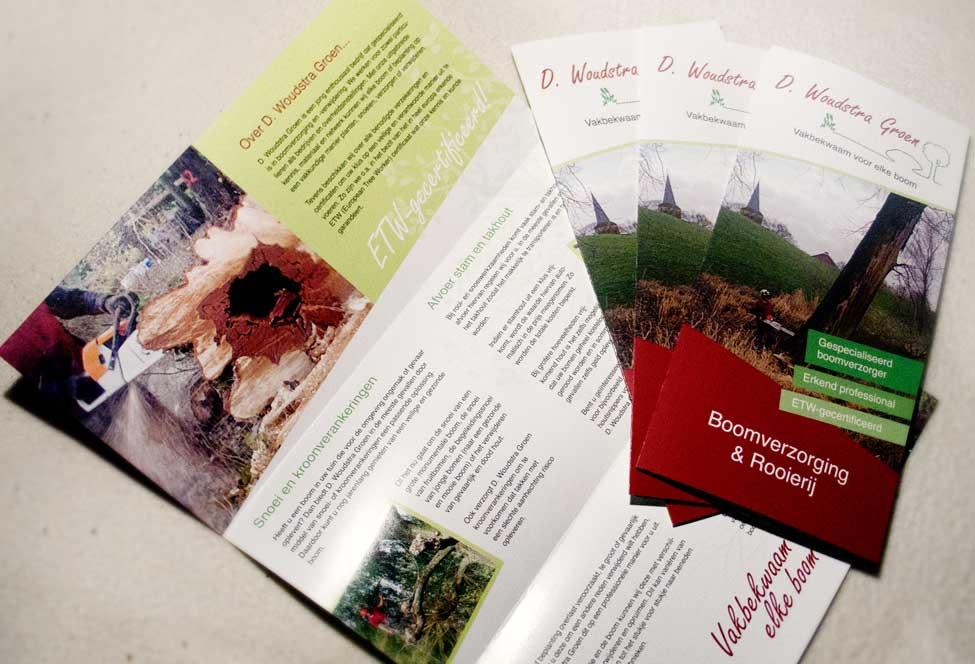 Drieluik-folder voor Woudstra Groen